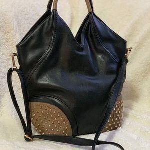 Handbags - Studded Black / Brown Slouchy Shoulder Bag